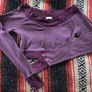Maurice's crop top in burgundy